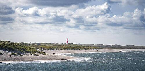 Sea and red-white lighthouse List-East in the dunes, Ellenbogen, Sylt, North Frisian Island, North Sea, North Frisia, Schleswig-Holstein, Germany, Europe