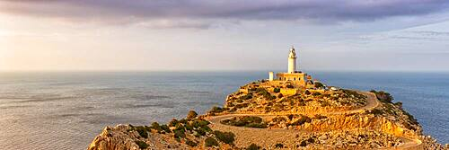 Cap Formentor landscape nature lighthouse sea panorama text free space copyspace Balearic Islands travel travel in Majorca, Spain, Europe