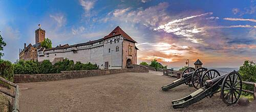 Wartburg, evening mood with cannons, Thuringia, Germany, Europe