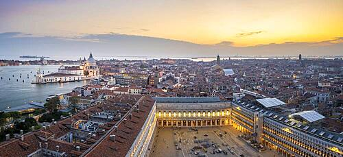 Evening atmosphere, Basilica di Santa Maria della Salute and St. Mark's Square, view from the Campanile di San Marco bell tower, city view of Venice, Veneto, Italy, Europe