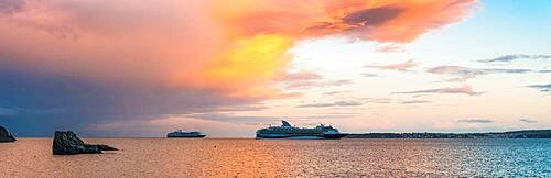 Sunset over Cruise ferries in Torquay, Devon, England, United Kingdom, Europe