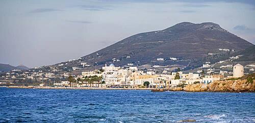 Coast, town view of Parikia, Paros, Cyclades, Aegean Sea, Greece, Europe