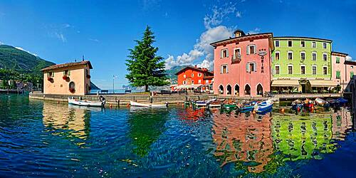 Small harbour with colourful boats, Turbel, Lake Garda North, Riva de Gardo, Trentino-Alto Adige, Italy, Europe
