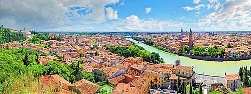 Panorama city view Verona with the river Adige, Castel San Pietro, Verona, Veneto, Italy, Europe