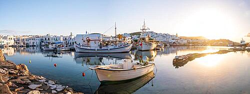 Evening atmosphere, harbour with fishing boats, Naoussa harbour town, Paros island, Cyclades, Greece, Europe