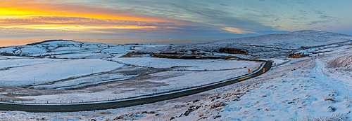 Panoramic view of frozen landscape near Macclesfield at sunset, High Peak, Cheshire, England, United Kingdom, Europe