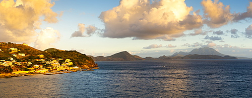 View of St. Kitts, Nevis Peak and Caribbean Sea, St. Kitts and Nevis, West Indies, Caribbean, Central America