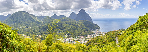 Panoramic view of Soufriere with the Pitons, UNESCO World Heritage Site, beyond, St. Lucia, Windward Islands, West Indies Caribbean, Central America