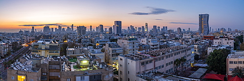 View of Tel Aviv skyline at sunrise, Tel Aviv, Israel, Middle East