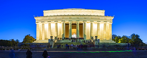 View of Lincoln Memorial at dusk, Washington D.C., United States of America, North America