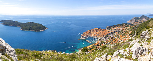 Panoramic view of Old Walled City of Dubrovnik and Adriatic Sea from elevated position, Dubrovnik Riviera, Croatia, Europe