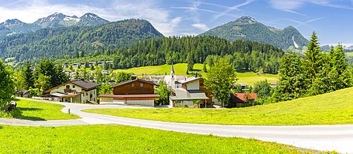 Elevated view of Fieberbrunn, Fieberbrunn, Austrian Alps, Tyrol, Austria, Europe