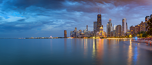 View of Chicago skyline at dusk from North Shore, Chicago, Illinois, United States of America, North America