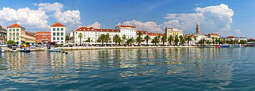 Panoramic view of Split Harbour and Cathedral of Saint Domnius, Split, Dalmatian Coast, Croatia, Europe