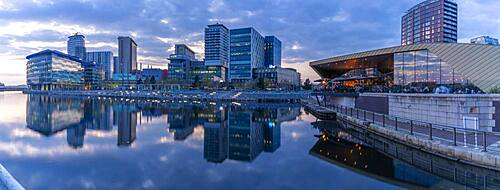 View of MediaCity UK and restaurant at dusk, Salford Quays, Manchester, England, United Kingdom, Europe - 844-23637