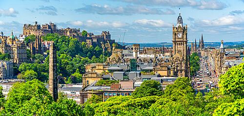View of Castle, Balmoral Hotel and Princes Street from Calton Hill, Edinburgh, Scotland, United Kingdom, Europe