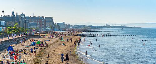 View of Portobello Beach from Portobello Promenade View, Portobello, Edinburgh, Scotland, United Kingdom, Europe