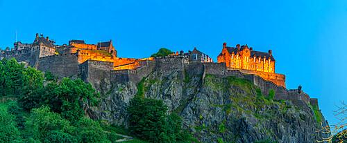 View of Edinburgh Castle from Princes Street at dusk, UNESCO World Heritage Site, Edinburgh, Scotland, United Kingdom, Europe