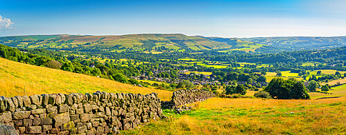 View of Bamford Village and dry stone wall from Bamford Edge, Peak District NP, Derbyshire, England, United Kingdom, Europe