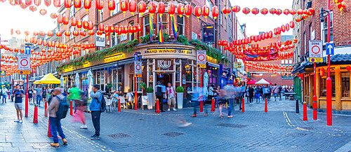 View of Gerrard Street in colourful Chinatown, West End, Westminster, London, England, United Kingdom, Europe