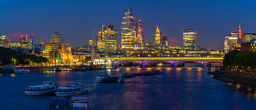 View of Blackfriars Bridge, St Paul's Cathedral and The City skyline at dusk, London, England, United Kingdom, Europe
