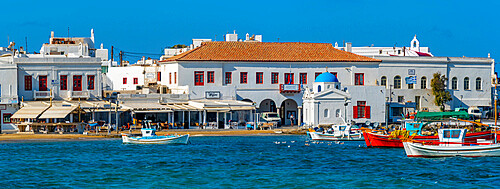 View of boats in harbour and Town Hall, Mykonos Town, Mykonos, Cyclades Islands, Greek Islands, Aegean Sea, Greece, Europe