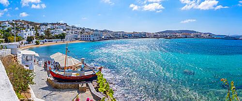 Elevated view of restaurant and town, Mykonos Town, Mykonos, Cyclades Islands, Greek Islands, Aegean Sea, Greece, Europe