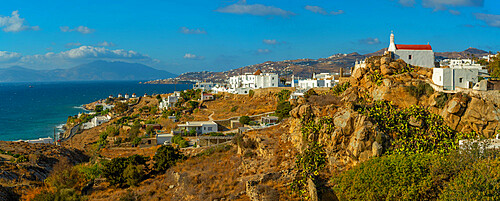 View of the windmills and town from elevated position, Mykonos Town, Mykonos, Cyclades Islands, Greek Islands, Aegean Sea, Greece, Europe