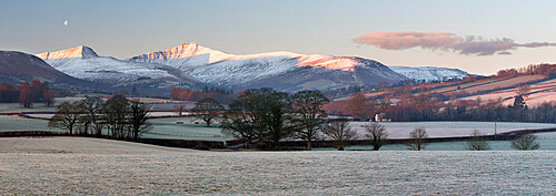 Snow covered Pen y Fan in frost, Llanfrynach, Usk Valley, Brecon Beacons National Park, Powys, Wales, United Kingdom, Europe