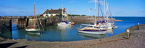 Yachts anchored in the harbour, Porlock Weir, near Minehead, Somerset, England, United Kingdom, Europe