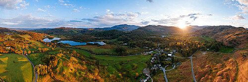 Aerial view of sunset over Elterwater, Lake District National Park, Cumbria, England, United Kingdom