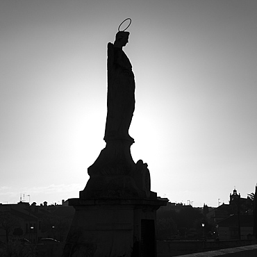 Silhouette of a statue, Roman bridge of Cordoba, Cordoba, Andalusia, Spain
