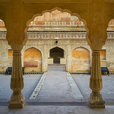 Baradari pavilion at Man Singh I, Palace Square, Amer Fort, Jaipur, Rajasthan, India