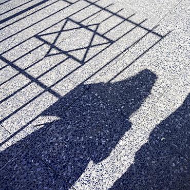 Shadow of the Star of David on the ground, Sephardic Hebrew Center, Vedado, Havana, Cuba