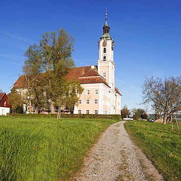 Pilgrimage church of Birnau Abbey in spring, Lake Constance, Baden-Wurttemberg, Germany, Europe