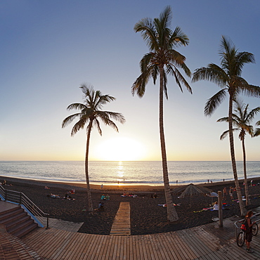 Beach of Puerto Naos at sunset, La Palma, Canary Islands, Spain, Europe