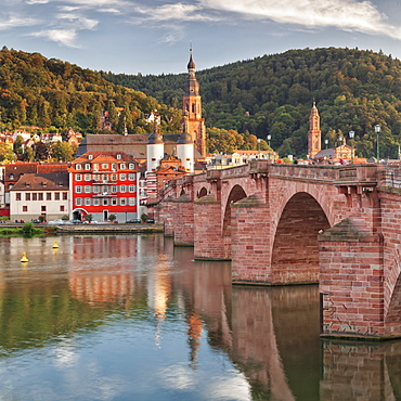 Old town with Karl-Theodor-Bridge (Old Bridge), Gate and Heilig Geist Church, Neckar River, Heidelberg, Baden-Wurttemberg, Germany, Europe
