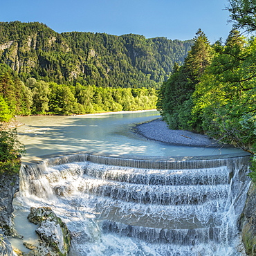 Lech River Waterfall, Fussen, Allgau, Schwaben, Bavaria, Germany, Europe