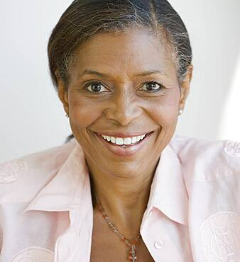 Close up of Senior African American woman smiling