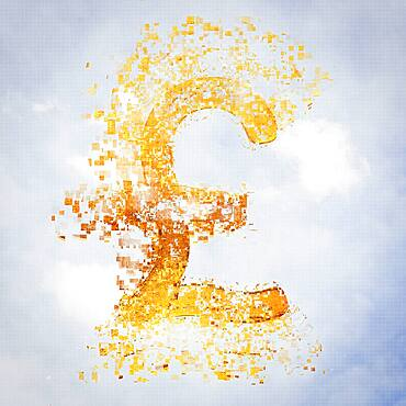 Pixelated pound sterling sign in sky