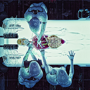 Robots operating on organs of transparent android