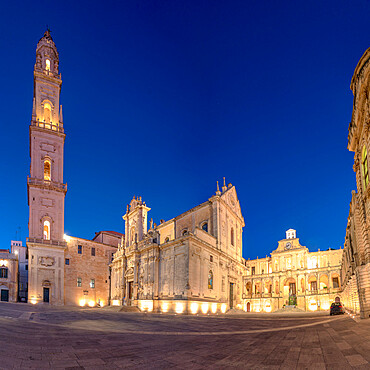 Cathedral and Piazza del Duomo square of Lecce at dusk, Salento, Apulia, Italy
