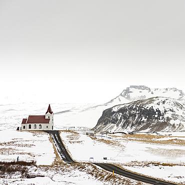 Ingjaldsholskirkja church, near Hallissandur, Snaefellsnes, Iceland, Polar Regions