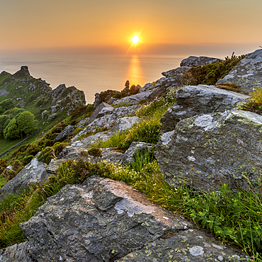 Valley of the Rocks at sunset, Exmoor National Park, Somerset, England, United Kingdom, Europe
