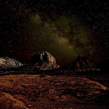 HDR composite of Bell Rock and Courthouse Butte under the Milky Way night Sky. Located in Sedona.