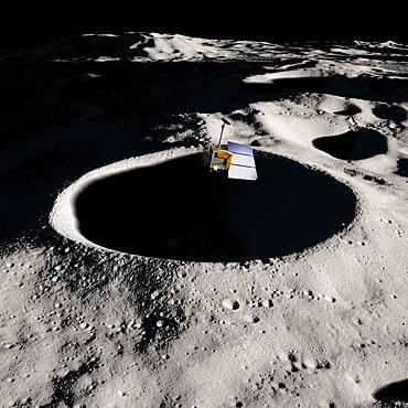 LRO Over Lunar South Pole, Artist Concept