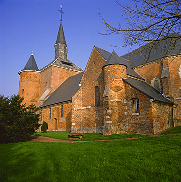 Fortified church, Plomion, Picardie, France, Europe