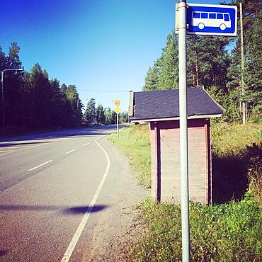 Traditional bus stop, Tesjoki, Loviisa, Finland, Europe