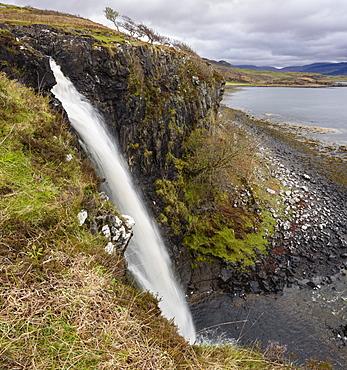 Eas Fors waterfall, near Ulva Ferry, Isle of Mull, Inner Hebrides, Argyll and Bute, Scotland, United Kingdom, Europe