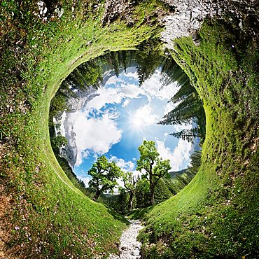 360° tunnel panorama of the Kleiner Ahornboden wooded area in the Karwendel, Tyrol, Austria, Europe